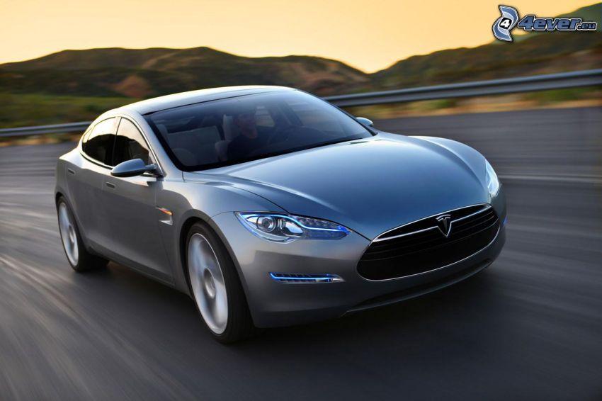 Tesla Model S, concetto, auto elettrica, strada, velocità