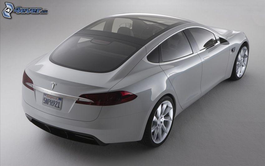 Tesla Model S, concetto, auto elettrica, tetto panoramico, lusso
