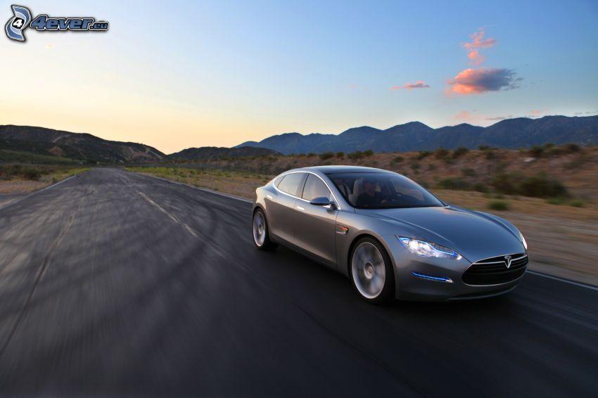 Tesla Model S, concetto, auto elettrica, velocità