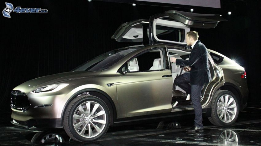 Tesla Model X, concetto, porta, falcon doors, Elon Musk