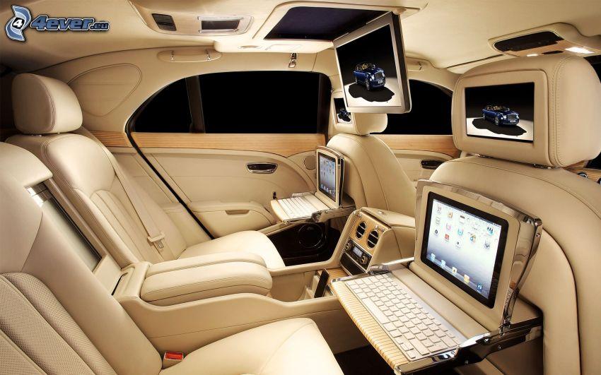 Bentley Mulsanne, interno, notebook, schermi, sedili, lusso