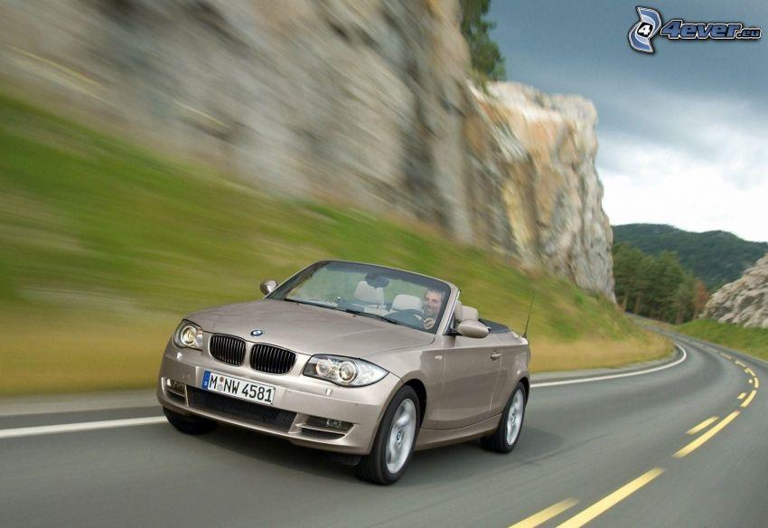 BMW 1, cabriolet, velocità, strada, roccia