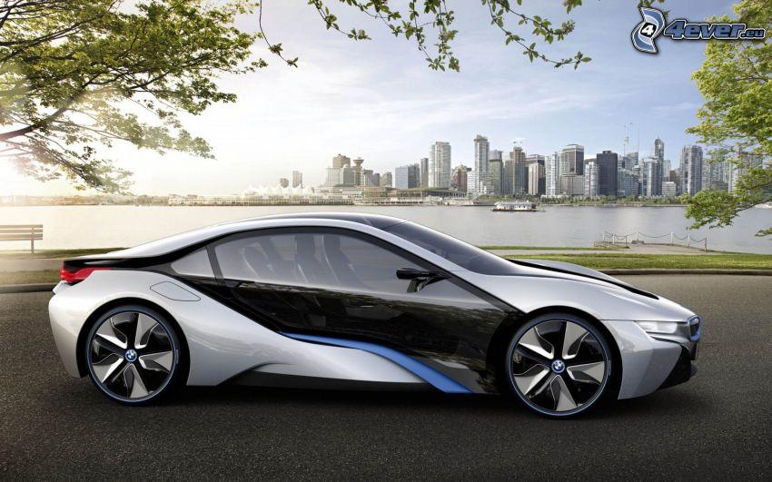 BMW i8, concetto, grattacieli