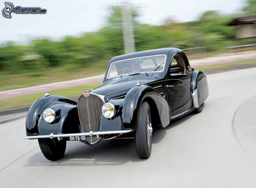 Bugatti Type 57s, veicolo d'epoca, curva, velocità