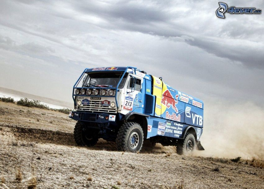 camion, Red Bull, polvere