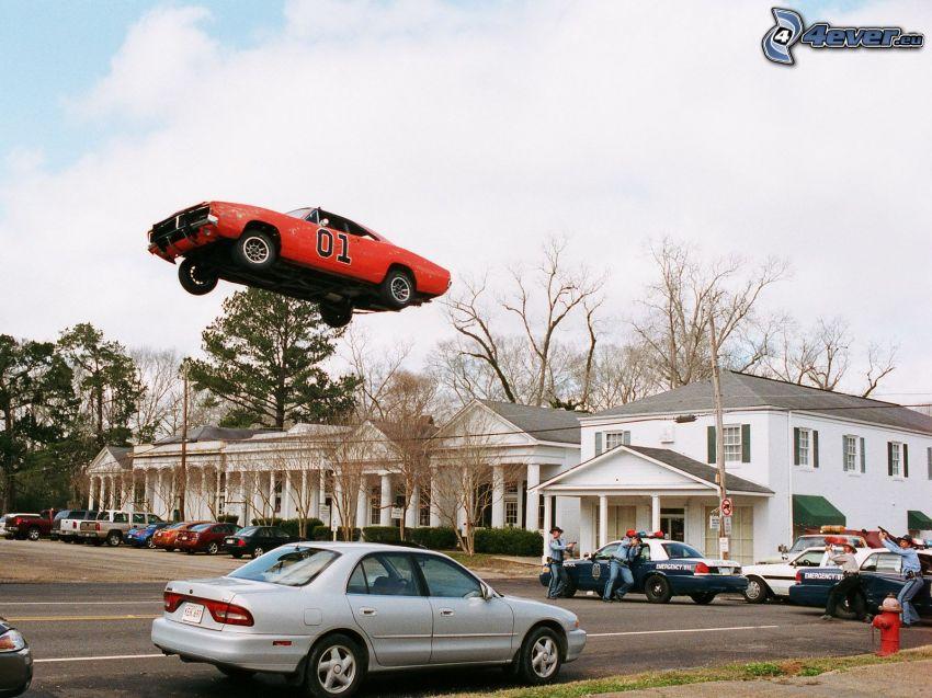 Dodge Challenger, veicolo d'epoca, salto