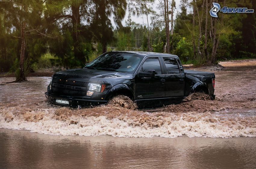 Ford F150 raptor, pickup truck, acqua
