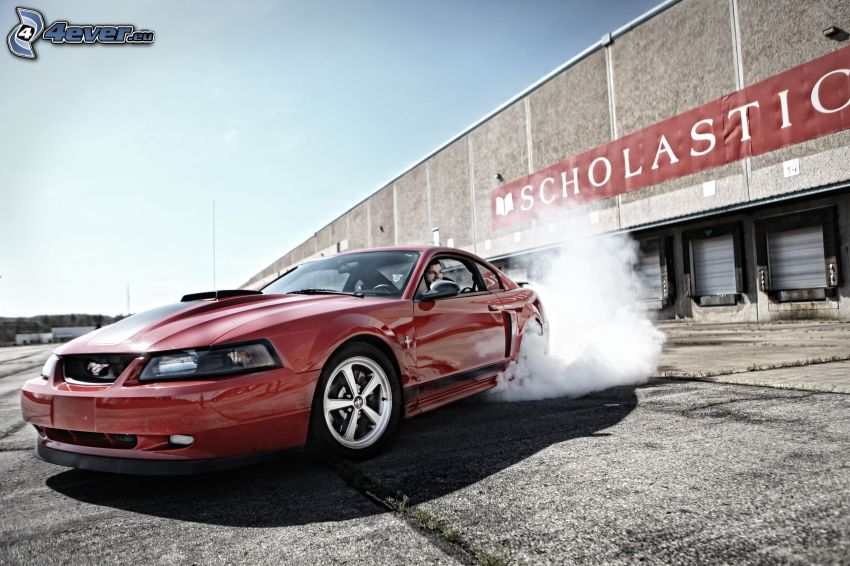 Ford Mustang, burnout, fumo