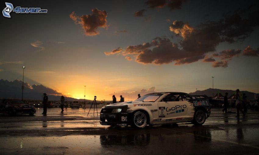 Chevrolet, auto da corsa, tramonto