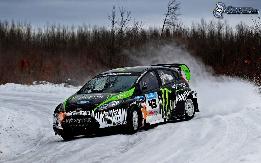 Ford Fiesta RS, drifting, neve