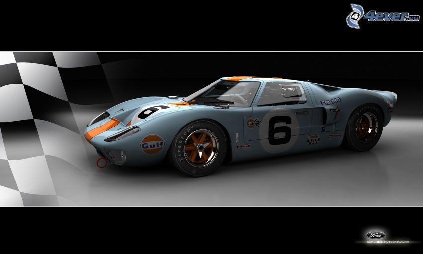 Ford GT40, veicolo d'epoca, auto da corsa