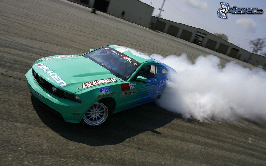 Ford Mustang RTR-X, drifting, fumo