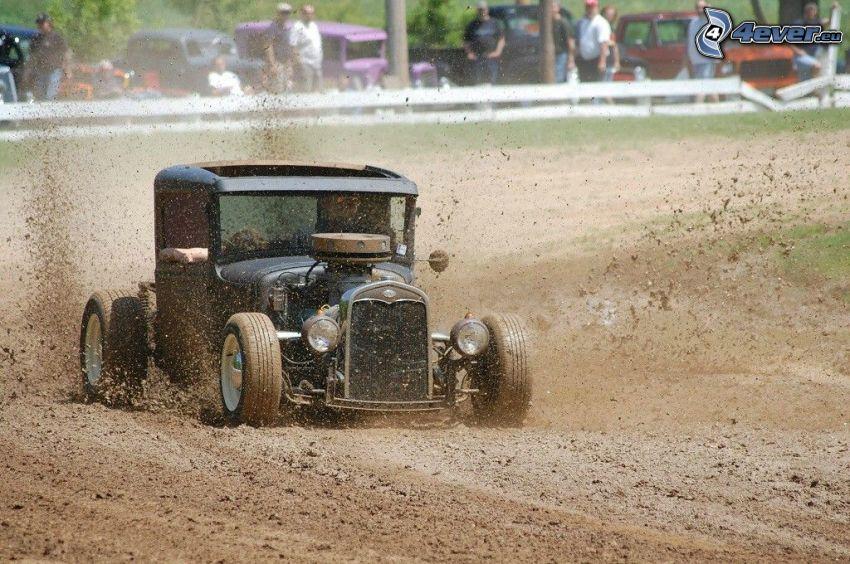 Hot Rod, veicolo d'epoca, circuito da corsa, fango