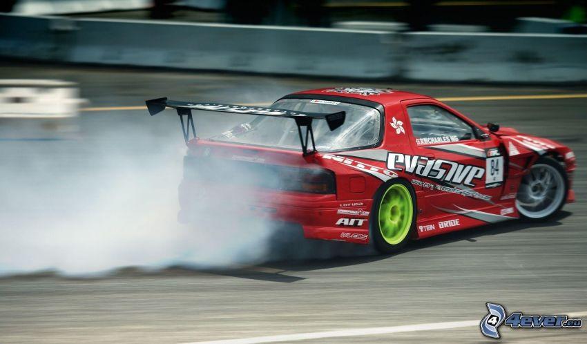 Mazda RX7, drifting, fumo