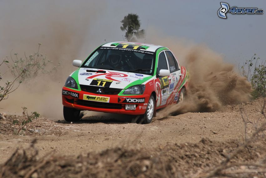 Mitsubishi Cedia, auto da corsa, argilla, polvere