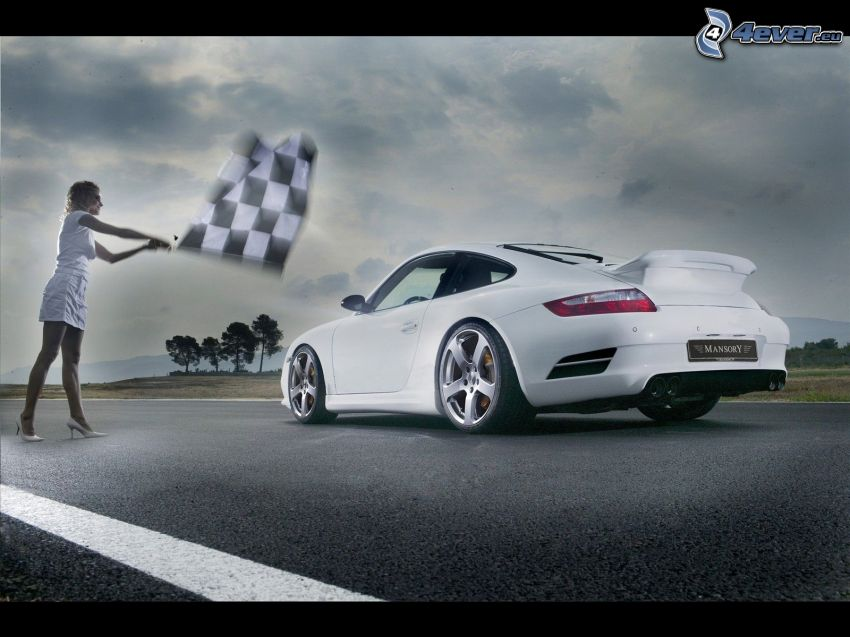 Porsche Carrera, gara, donna, bandiera