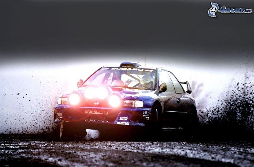 Subaru Impreza, rally, drifting, fango