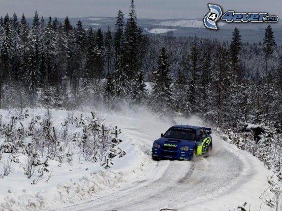 Subaru Impreza, rally, inverno, paesaggio, neve, gara