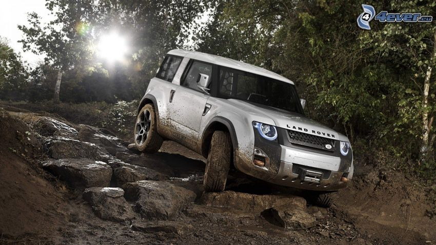 Land Rover Defender, terreno, fango