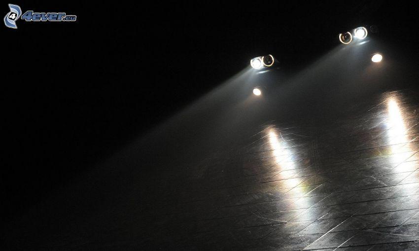 luci, auto, oscurità