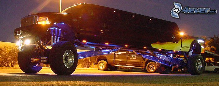 monster truck, limousine