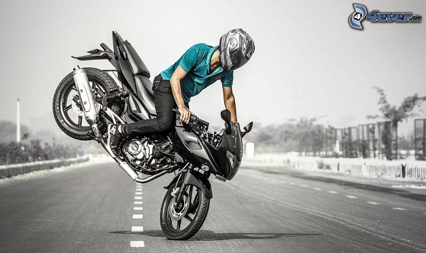 acrobazia, motociclista, motocicletta