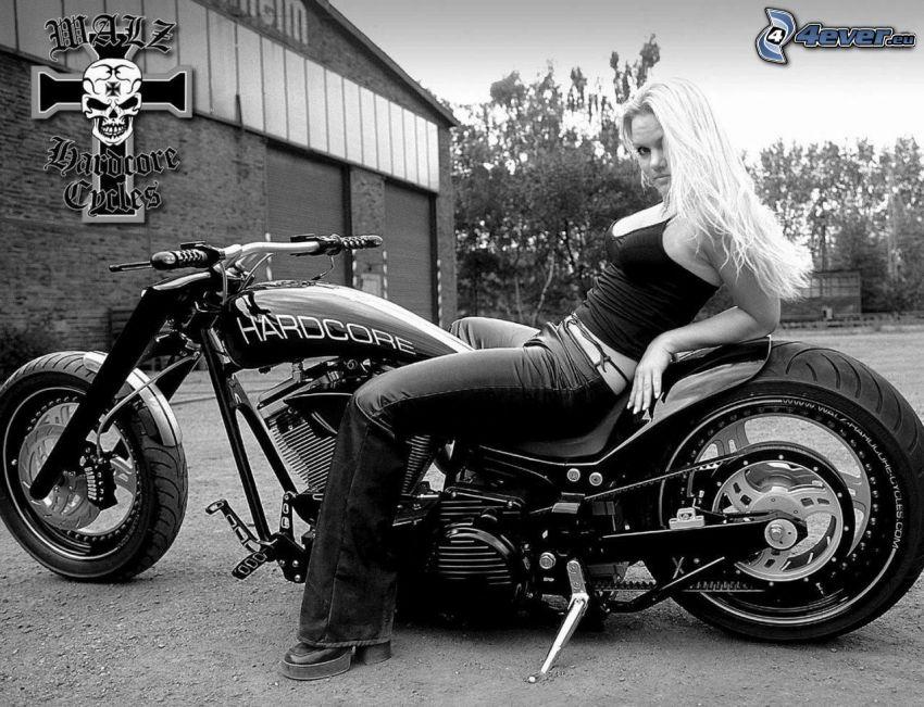 bionda, motocicletta, bianco e nero