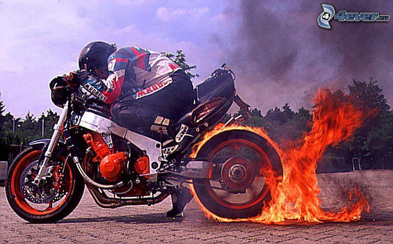 burnout, motocicletta, fuoco, motociclista