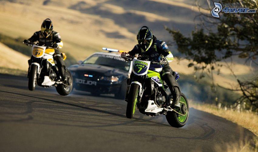 drifting, moto, motociclista, auto della polizia