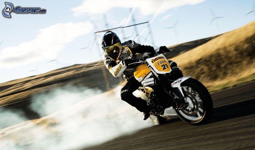 drifting, motocicletta, motociclista, fumo