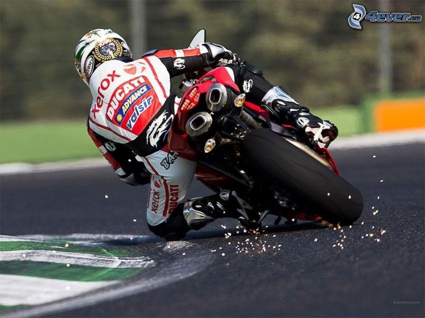 Ducati 1198S Corse, motociclista, gara, circuito da corsa, curva