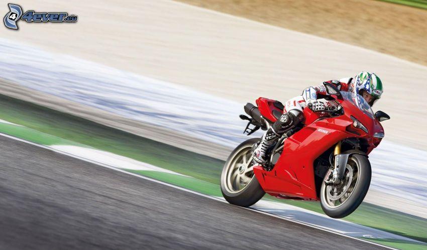Ducati 1198S Corse, motociclista, velocità, circuito da corsa