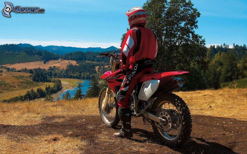 Honda CRF 450, motociclista, la vista del paesaggio
