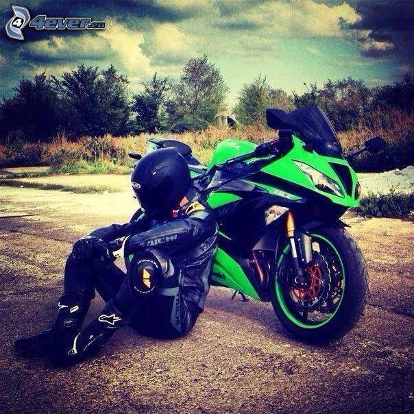 Kawasaki, motocicletta, motociclista