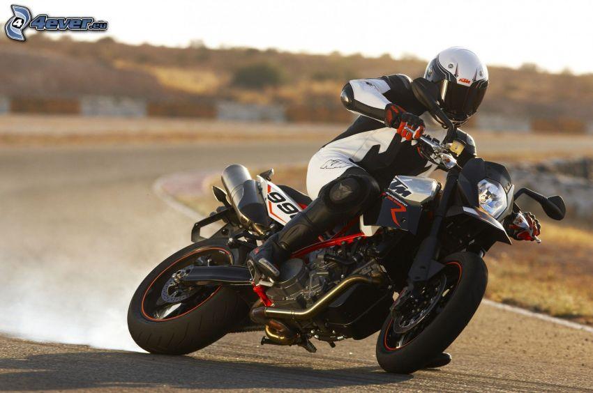 KTM 990, motociclista, drifting