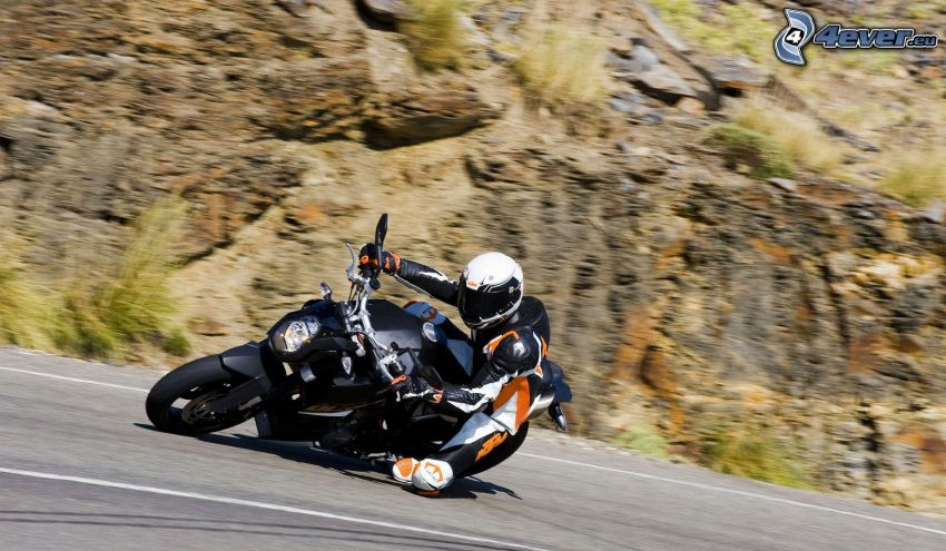 KTM 990, motociclista, velocità, rocce, strada