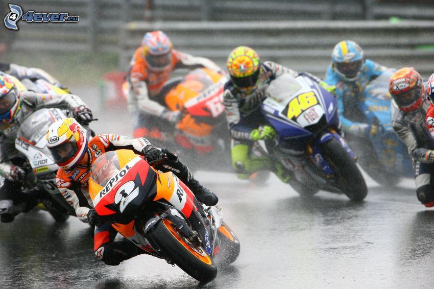 moto, gara, motociclista, acqua