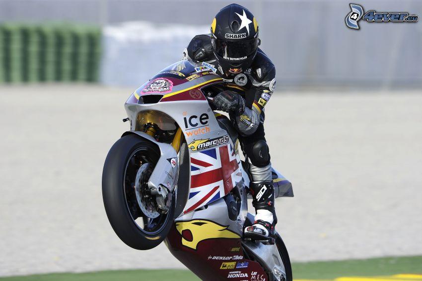 motocicletta, motociclista, acrobazia