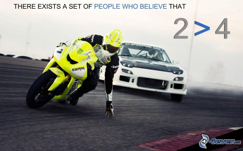 motocicletta, motociclista, auto, text