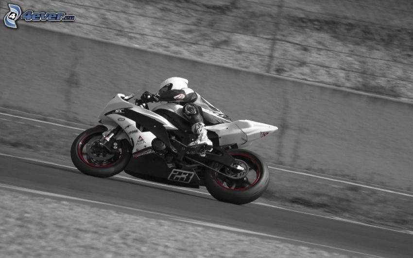 motocicletta, motociclista, velocità, strada