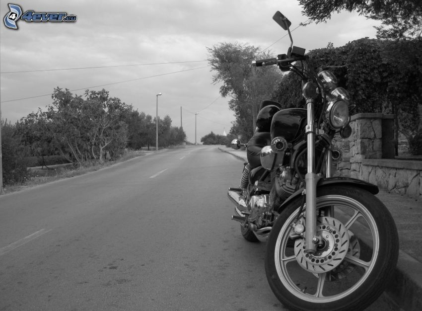 motocicletta, strada, foto in bianco e nero