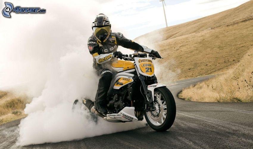 motociclista, motocicletta, burnout, fumo, collina
