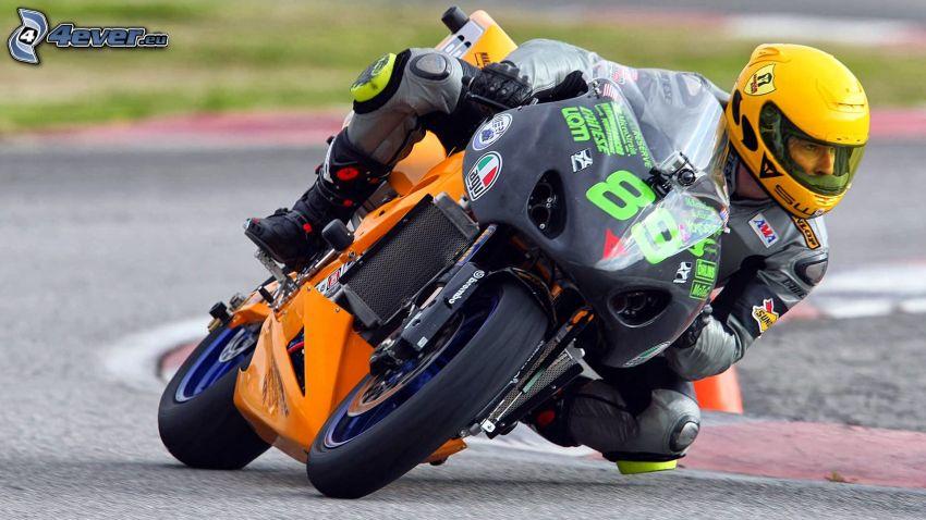 motociclista, motocicletta, circuito da corsa