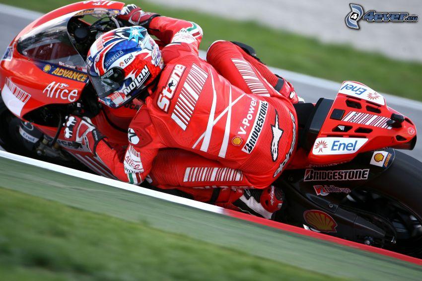 motociclista, motocicletta, gara