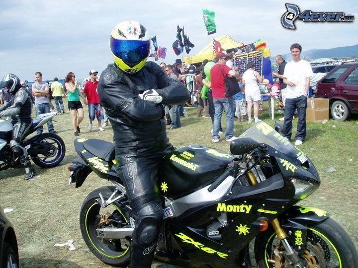 motociclista, motocicletta, riunione