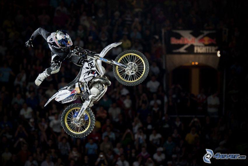 motociclista, motocicletta, salto, spettatori