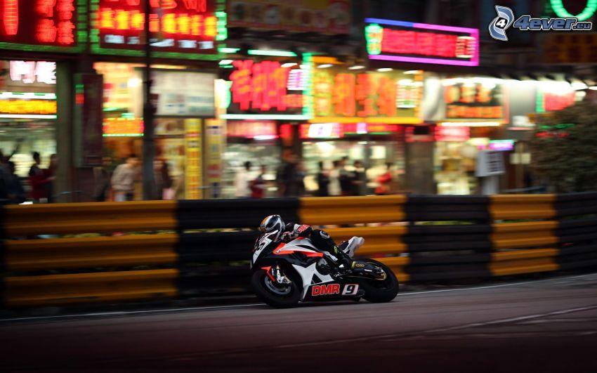 motociclista, motocicletta, velocità