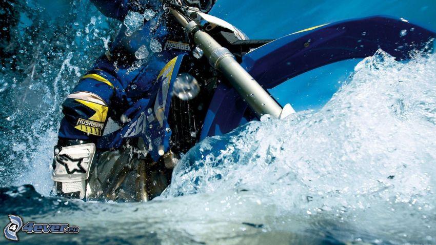 motocross, motocicletta, acqua