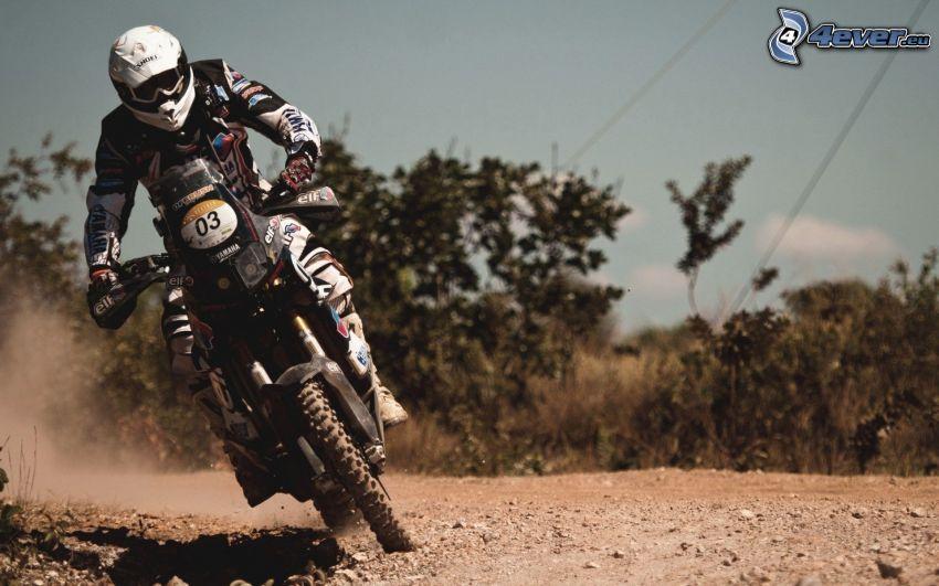 motocross, motociclista, motocicletta, polvere