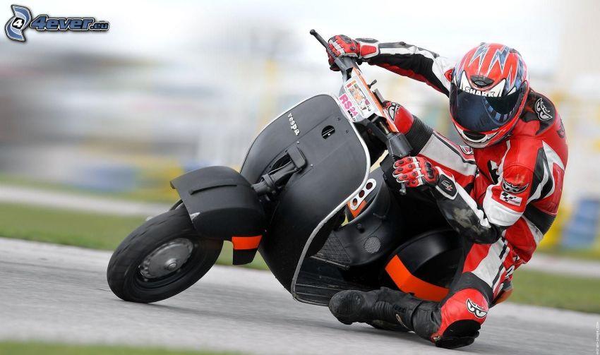 Vespa, scooter, motociclista, velocità